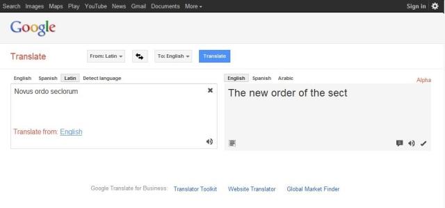 GOOGLE TRANSLATION - NOVUS ORDO SECLORUM (A1)