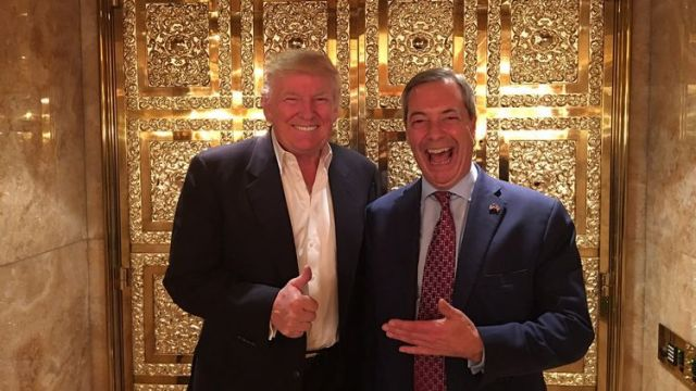 FARAGE TRUMP WHORE OF BABYLON HAND SIGN