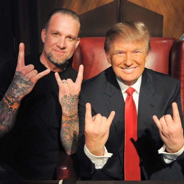 James-Trump-satanic-salutes-devil-horns